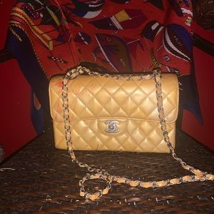 Vintage Patent Yellow Leather Chanel Classic
